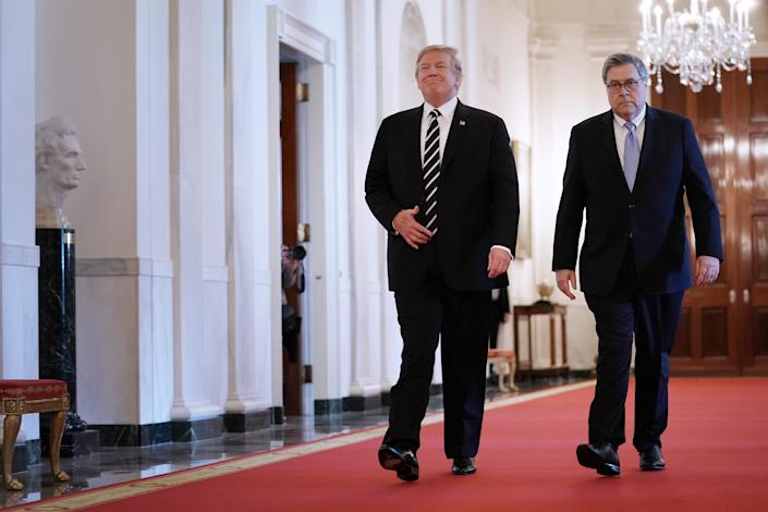 President Donald Trump and Attorney General William Barr in a 2019 photo.