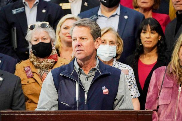 PHOTO: Georgia Gov. Brian Kemp speaks about Major League Baseball's decision to pull the 2021 All-Star Game from Atlanta over the league's objection to a new Georgia voting law during a news conference at the State Capitol in Atlanta, April 3, 2021. (Brynn Anderson/AP)