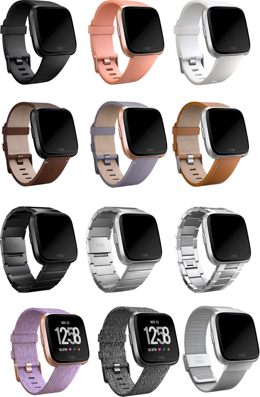 Here's a sampling of some of the silicone, leather, cloth, and metal bands available.