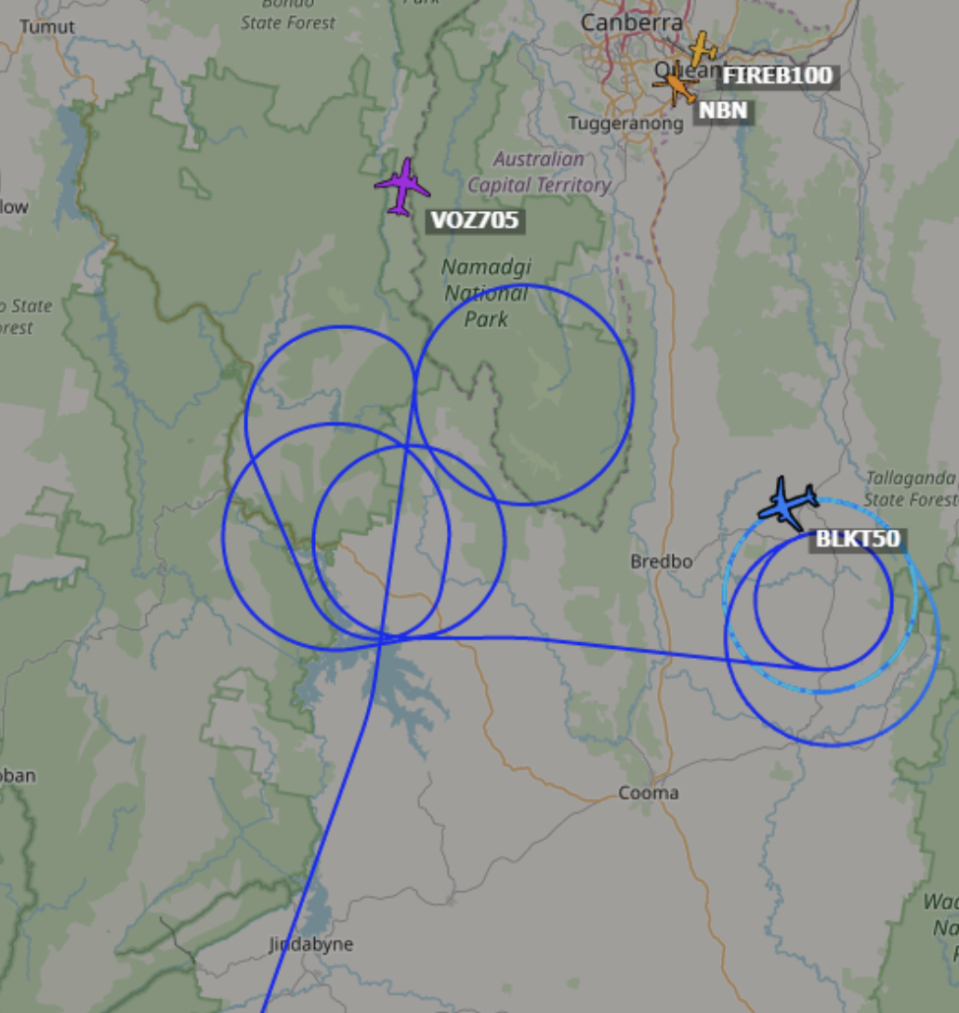 """""""BLACKCAT 50"""" is currently searching for the missing C-130 Large Air Tanker. Source: ScanSydney"""
