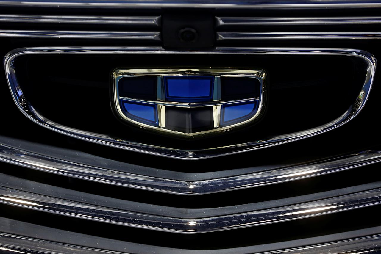 The emblem of the Geely automobile maker logo is seen at the IEEV New Energy Vehicles Exhibition in Beijing, China October 18, 2018.  Picture taken October 18, 2018.   REUTERS/Thomas Peter
