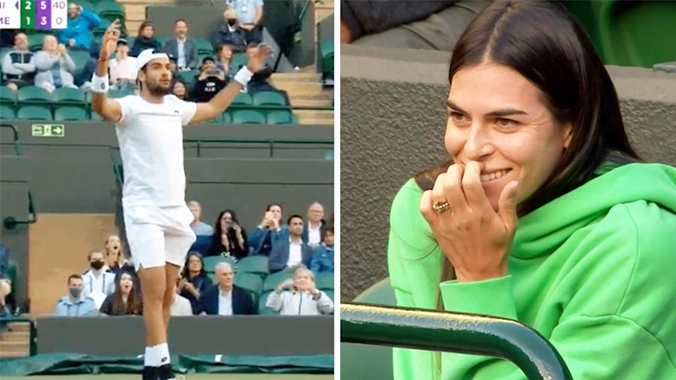 Matteo Berrettini (pictured left) celebrating after thought he had won his Wimbledon semi-final and (pictured right) girlfriend Ajla Tomljanovic sharing a laugh.