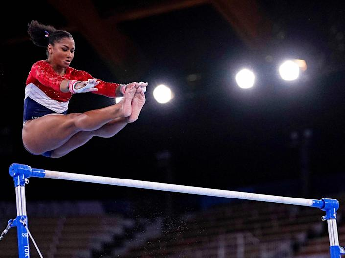 Jordan Chiles competes on the uneven bars in lieu of Simone Biles.
