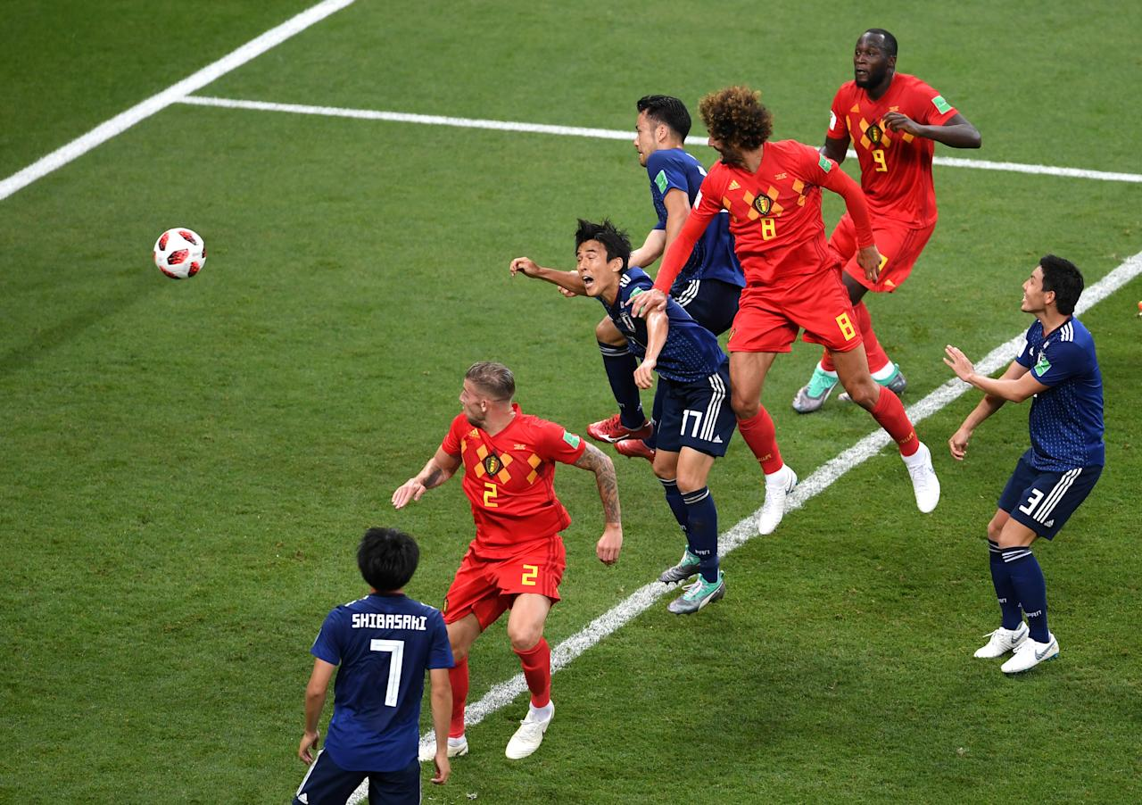 <p>Marouane Fellaini of Belgium scores his team's second goal during the 2018 FIFA World Cup Russia Round of 16 match between Belgium and Japan at Rostov Arena on July 2, 2018 in Rostov-on-Don, Russia. (Photo by Laurence Griffiths/Getty Images) </p>