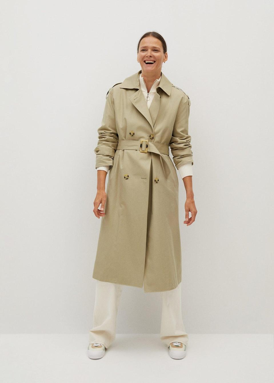 <p>Trench coats have an enduring appeal, and this <span>Classic belted trench</span> ($150) is no exception.</p>