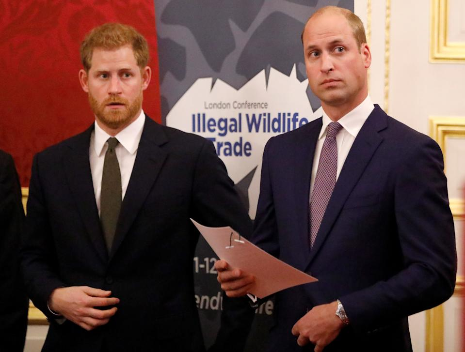 LONDON, ENGLAND - OCTOBER 10: Prince William, Duke of Cambridge (R) and Prince Harry, Duke of Sussex,  host a reception to officially open the 2018 Illegal Wildlife Trade Conference at St James' Palace on October 10, 2018 in London, England.  The 2018 Illegal Wildlife Trade Conference is the fourth such international conference bringing together heads of state, ministers and officials from nearly 80 countries, alongside NGOs, academics and businesses, to build on previous efforts to tackle this lucrative criminal trade. The conference is being hosted by the UK Government from 11th to 12th October 2018. (Photo by Tolga Akmen - WPA Pool / Getty Images)