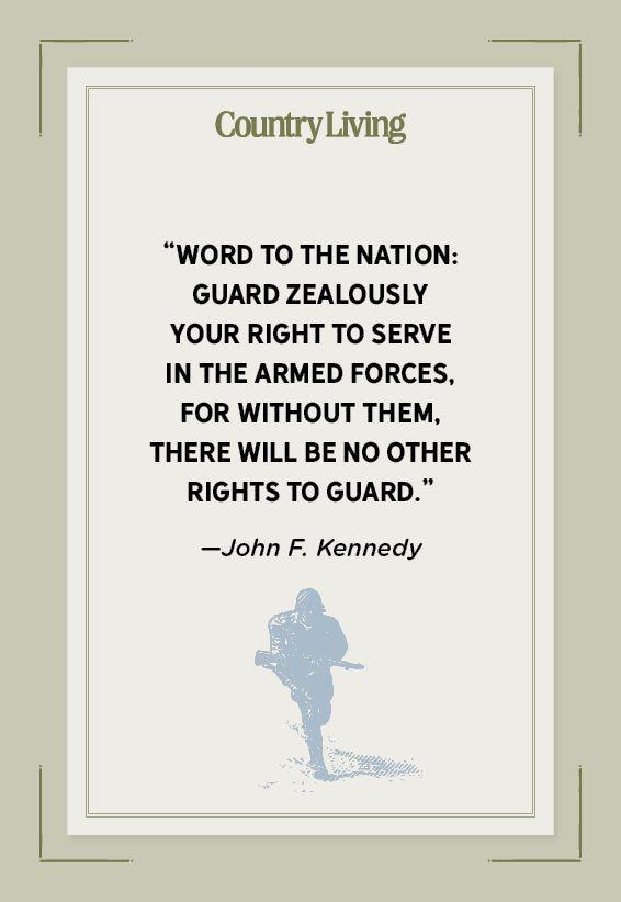 """<p>""""Word to the Nation: Guard zealously your right to serve in the Armed Forces, for without them, there will be no other rights to guard.""""</p>"""