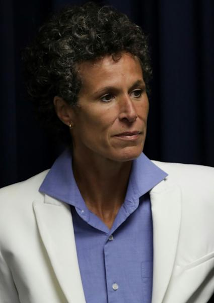 Andrea Constand, the main accuser in the Bill Cosby sexual assault retrial, leaving the courtroom in Norristown, Pennsylvania on April 26, 2018
