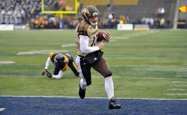 """<a class=""""link rapid-noclick-resp"""" href=""""/ncaaf/players/252490/"""" data-ylk=""""slk:Tom Flacco"""">Tom Flacco</a> played in 13 games at Western Michigan. (AP)"""