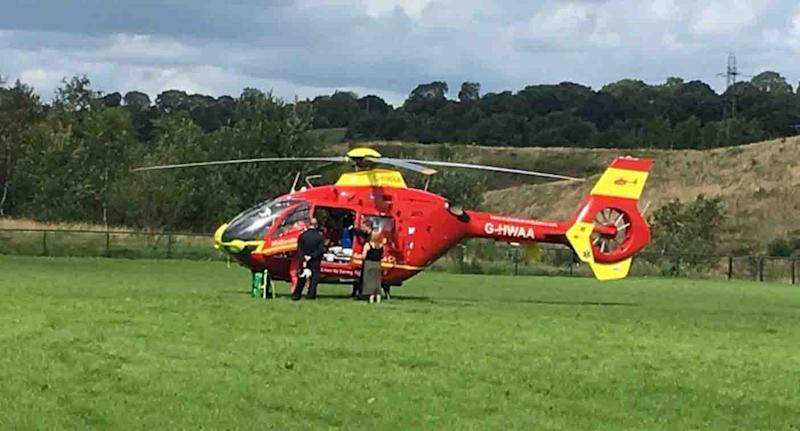 A helicopter arrived at a football pitch at Fegg Hayes, Stoke-on-Trent, UK, Sunday after a boy was impaled through the neck. Source: Staffordshire Fire and Rescue