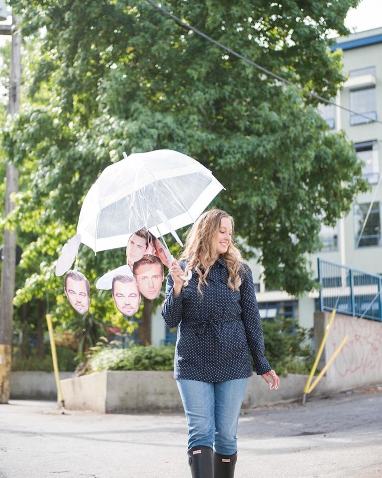 Put on your rain gear and attach print-outs of your favorite Hollywood hunks to an umbrella, and you're good to go.