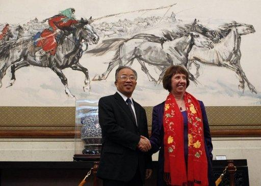 EU foreign policy chief Catherine Ashton (R) and Chinese State Councillor Dai Bingguo