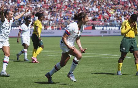 FILE PHOTO: May 12, 2019; Santa Clara, CA, USA; USA forward Carli Lloyd (10) celebrates after scoring a goal against South Africa during the second half during a Countdown to the Cup Women's Soccer match at Levi's Stadium. Mandatory Credit: Kelley L Cox-USA TODAY Sports