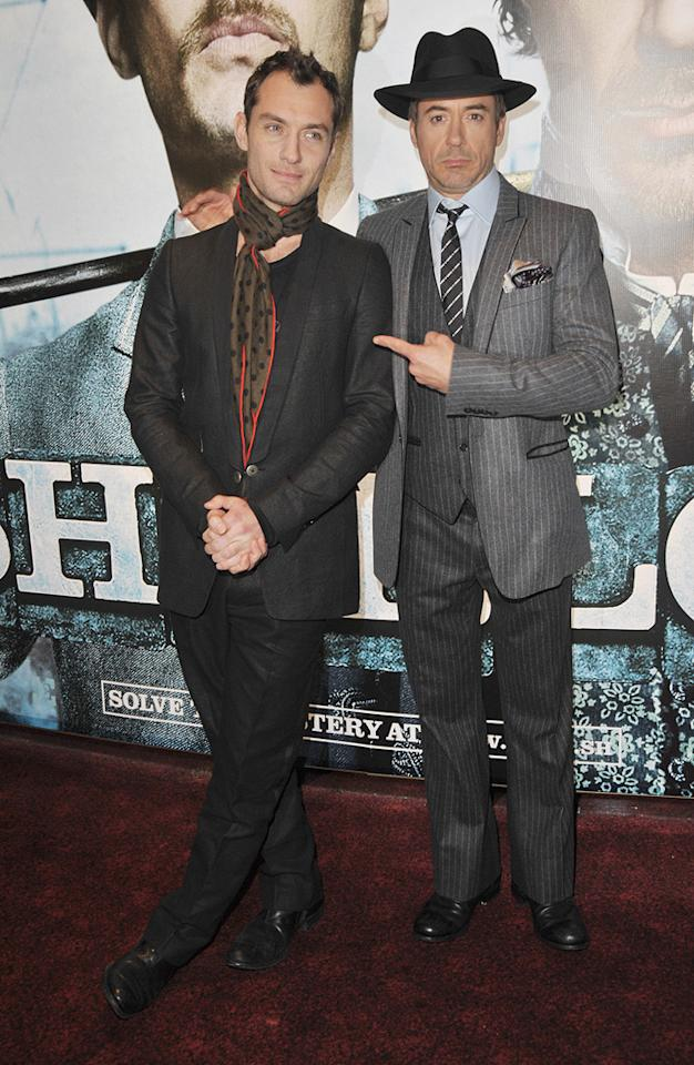 """<a href=""""http://movies.yahoo.com/movie/contributor/1800018936"""">Jude Law</a> and <a href=""""http://movies.yahoo.com/movie/contributor/1800010914"""">Robert Downey Jr.</a> at the London premiere of <a href=""""http://movies.yahoo.com/movie/1810045845/info"""">Sherlock Holmes</a> - 12/14/2009"""