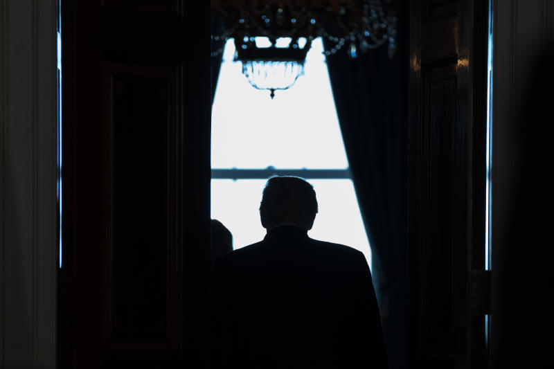 FILE - In this July 8, 2020, file photo President Donald Trump walks off after delivering a statement at the White House in Washington. But when it comes to battling the coronavirus, President Donald Trump has made clear that states are largely on their own. When it comes to squelching protests in Democrat-run cities, Trump is eager to send in federal troops and agents — even when local leaders are begging him to butt out. (AP Photo/Evan Vucci, File)