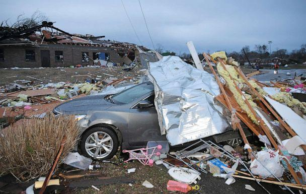 PHOTO: Debris covers a car near after a tornado touched down in Nashville, Tenn., March 3, 2020. (Shelley Mays/The Tennessean/USA TODAY via Reuters)