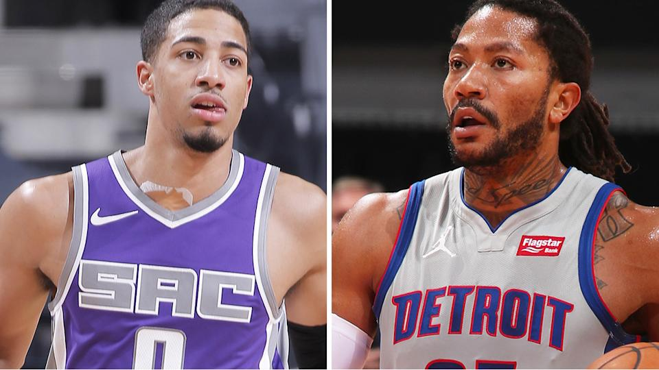Sacramento's Tyrese Haliburton and Detroit's Derrick Rose both loom as attractive waiver wire options where available. Pictures: Getty Images