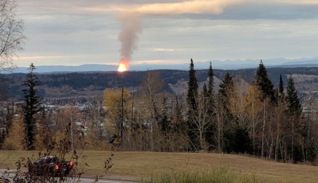 A large fireball rising into the sky from Shelley, B.C. a small community about 15 kilometres northeast of Prince George, in October 2018.