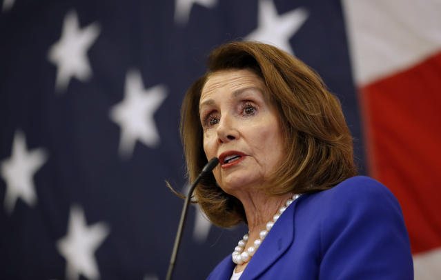 House Minority Leader Nancy Pelosi, D-California, speaks during the Polk County Democrats Spring Dinner, Sunday, May 6, 2018, in Des Moines, Iowa. (AP Photo/Charlie Neibergall)
