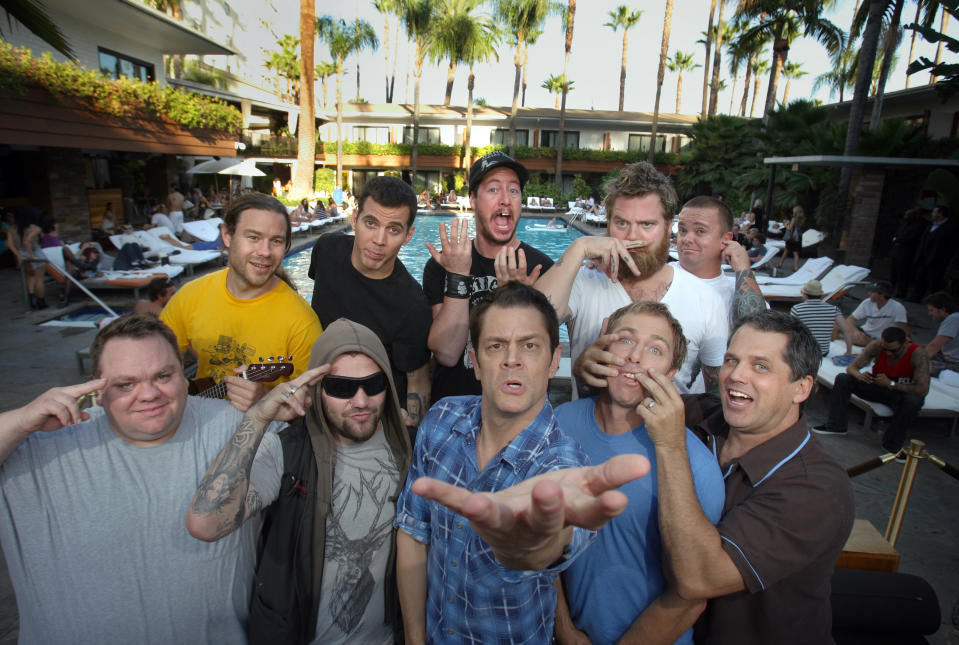 """Jackass actors: clockwise from top left: Chris Pontius, Steve–O, Ehren McGhehey, Ryan Dunn, Jason """"Wee Man"""" Acuna, Jeff Tremaine, Dave England, Johnny Knoxville, Bam Margera, and Preston Lacy at the Roosevelt Hotel in Hollywood.  (Photo by Allen J. Schaben/Los Angeles Times via Getty Images)"""