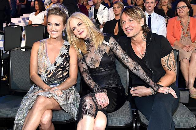 "<p>The stars were happy to be seated together at the 2017 CMT Music Awards in Music City. Both Underwood and Kidman's husband Urban were <a href=""https://www.yahoo.com/music/cmt-music-awards-2017-complete-winners-list-022732015.html"" data-ylk=""slk:big winners;outcm:mb_qualified_link;_E:mb_qualified_link"" class=""link rapid-noclick-resp newsroom-embed-article"">big winners</a> of the night! (Photo: Mike Coppola/Getty Images for CMT) </p>"