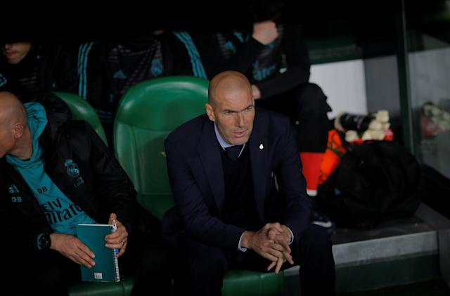 Soccer Football - La Liga Santander - Real Betis vs Real Madrid - Estadio Benito Villamarin, Seville, Spain - February 18, 2018 Real Madrid coach Zinedine Zidane before the match REUTERS/Jon Nazca