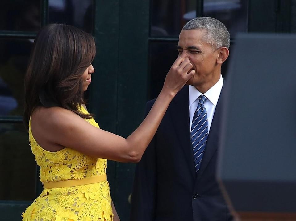 <p>When she pinched his nose while they were waiting for the arrival of Singapore Prime Minister Lee Hsien Loong on Aug. 2. [Photo: Getty/Mark Wilson]</p>