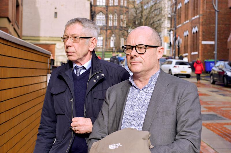 David Smith (L) and Peter Hunter (R) arrive at Leeds Crown Court. (Alex Cousins/SWNS)