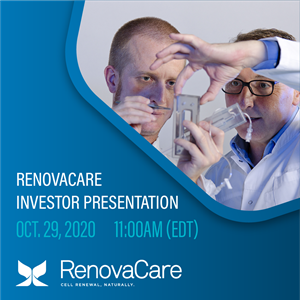 RenovaCare Commences Investor Presentations; Webcast on October 29, 2020 at 11:00 AM EDT