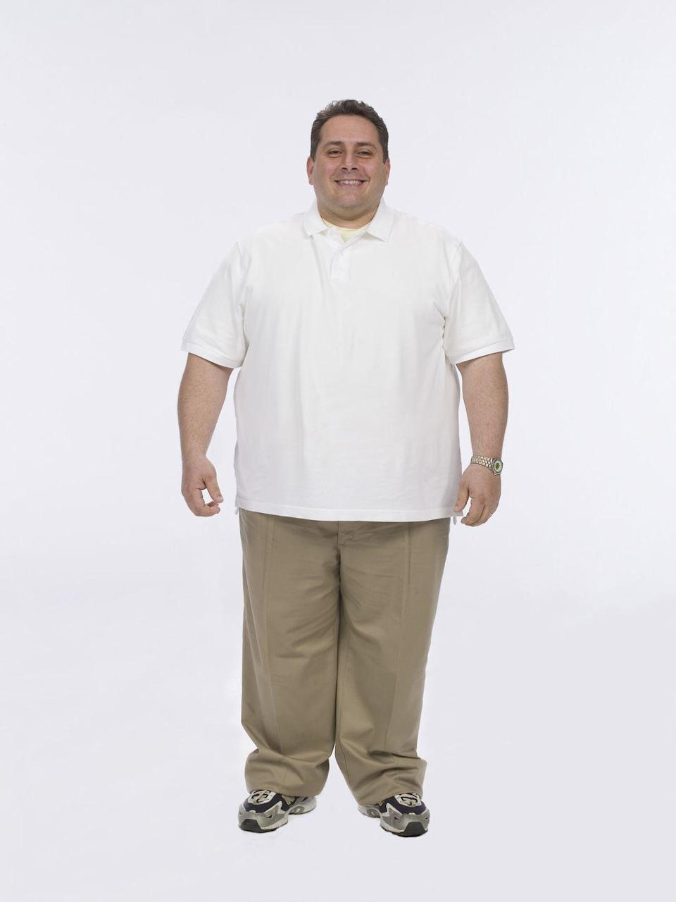 """<p>Bill started the show at 334 pounds and competed alongside his twin brother, Jim. At the start, <a href=""""https://people.com/tv/bill-germanakos-is-the-biggest-loser/"""" rel=""""nofollow noopener"""" target=""""_blank"""" data-ylk=""""slk:he admitted"""" class=""""link rapid-noclick-resp"""">he admitted</a> that he had a """"body built by baklava."""" Steady weight loss, combined with a serious dose of grit, eventually helped him win season four.</p>"""