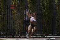 Gwendolyn Berry competes in the prelims of the women's hammer throw at the U.S. Olympic Track and Field Trials Thursday, June 24, 2021, in Eugene, Ore.(AP Photo/Ashley Landis)