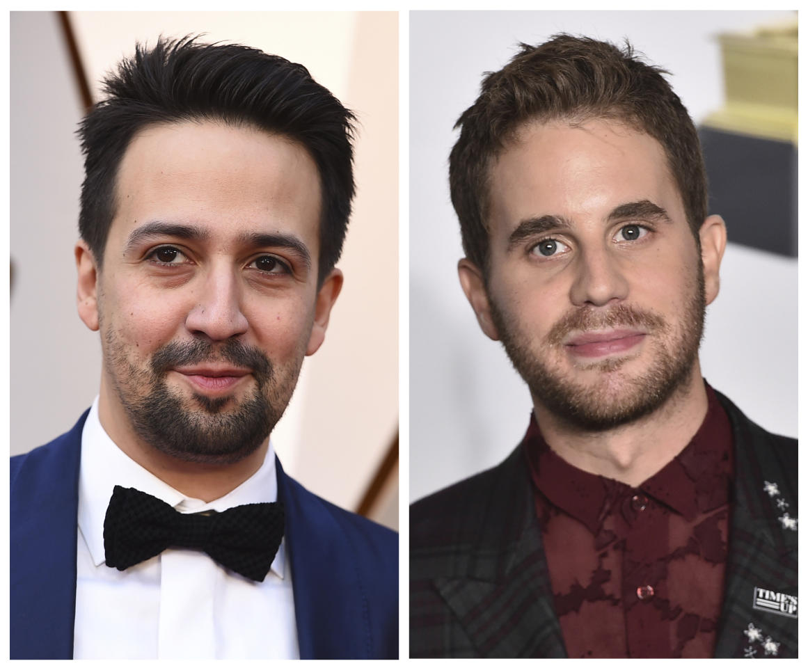 "This combination of photos shows Lin-Manuel Miranda, left, at the Oscars in Los Angeles on March 4, 2018 and Ben Platt at the Grammy Awards in New York on Jan. 28, 2018. ""Hamilton"" creator Miranda and Platt, the original star of ""Dear Evan Hansen,"" recorded a duet called ""Found/Tonight,' mixing lyrics from ""You Will Be Found"" from ""Dear Evan Hansen"" and ""The Story of Tonight"" from ""Hamilton."" The song was released at midnight on Monday, March 19, 2018. (AP Photos/File)"