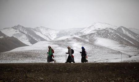 Ethnic Tibetan pilgrims walk on a road during Tibetan New Year in Langmusixiang, Sichuan Province