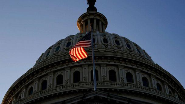 PHOTO: The U.S. Capitol is shown late on Dec. 18, 2019, in Washington prior to a vote on two articles of impeachment against President Trump. (Win Mcnamee/Getty Images)