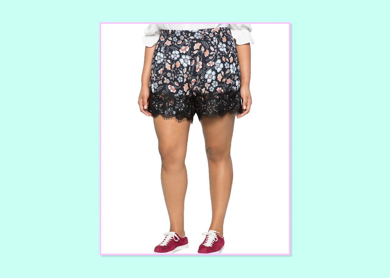 "<p>$80, <a rel=""nofollow"" href=""http://www.eloquii.com/floral-scalloped-shorts/1344225.html?cgid=shorts&dwvar_1344225_colorCode=16&start=6"">Eloquii</a> </p>"