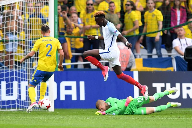 Kept out: Abraham and his England colleagues drew a blank against Sweden: AFP/Getty Images