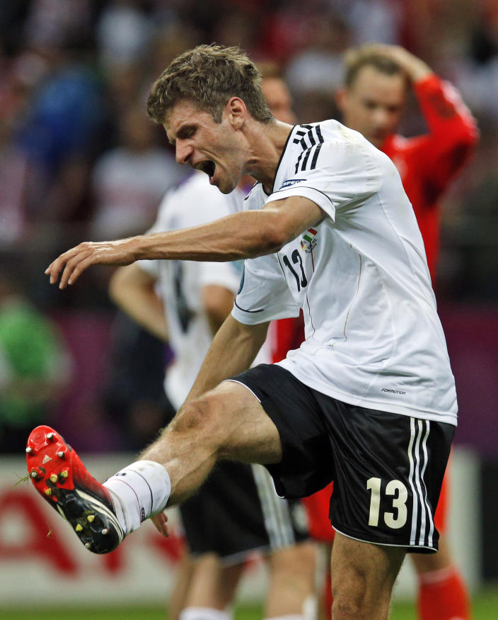 Germany's Thomas Mueller reacts during the Euro 2012 soccer championship semifinal match between Germany and Italy in Warsaw, Poland, Thursday, June 28, 2012. (AP Photo/Michael Sohn)