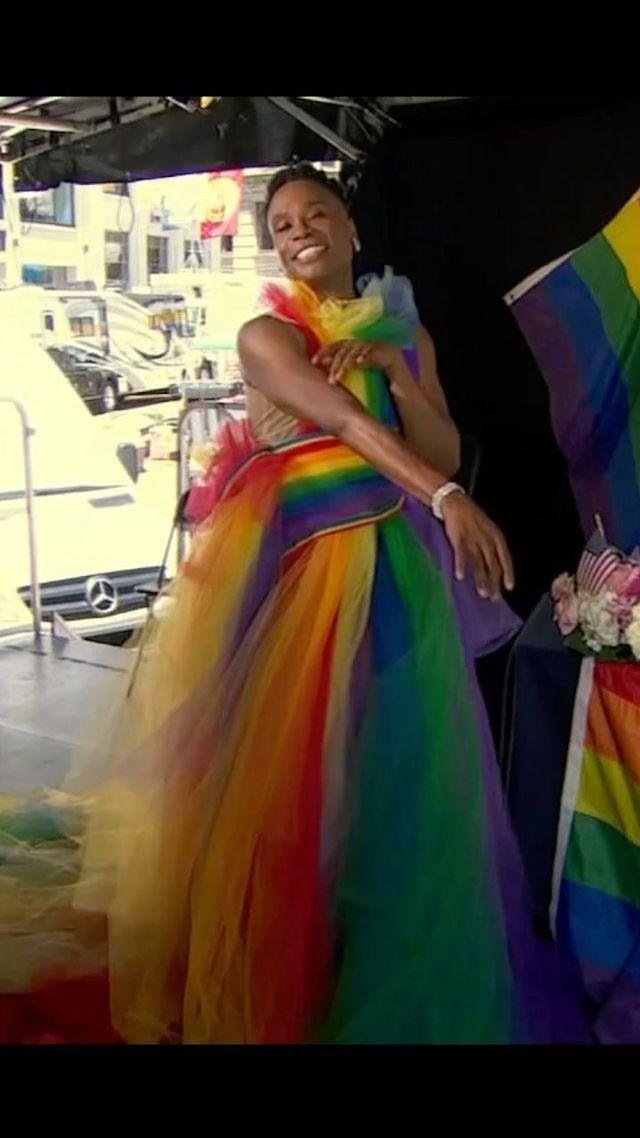 """<p>Porter dazzled in a rainbow coloured halterneck dress to mark the start of Pride Month in June, 2021</p><p><a href=""""https://www.instagram.com/p/CPrtdHiF6x1/"""" rel=""""nofollow noopener"""" target=""""_blank"""" data-ylk=""""slk:See the original post on Instagram"""" class=""""link rapid-noclick-resp"""">See the original post on Instagram</a></p>"""