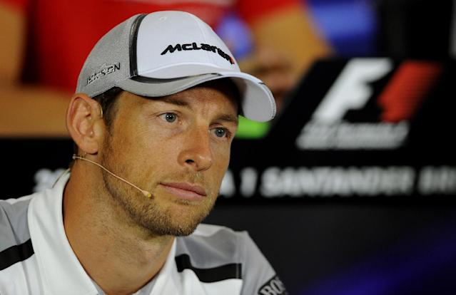Britain's Jenson Button of McLaren Mercedes during a press conference ahead of this weekend's Formula 1 British Grand Prix at Silverstone, England, on Thursday, July 3, 2014. (AP Photo/Rui Vieira)