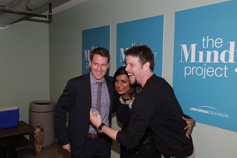 THE MINDY PROJECT -- FYC @ UCB Theater -- Pictured: (l-r) David Stassen, Mindy Kaling, Ike Barinholtz -- (Photo by: Chris Haston/NBC/NBCU Photo Bank via Getty Images)