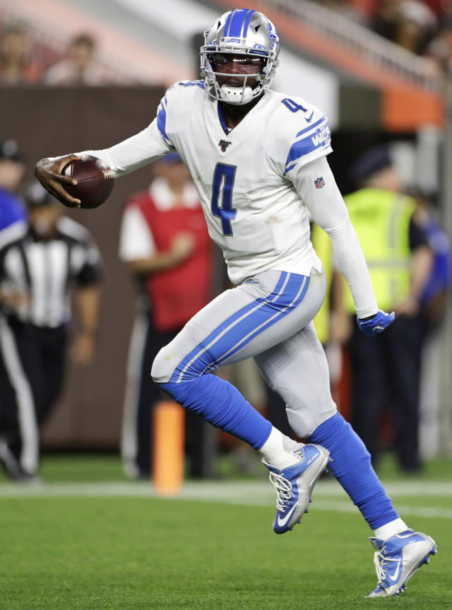 Detroit Lions quarterback Josh Johnson scores a 1-yard touchdown during the second half of the team's NFL preseason football game against the Cleveland Browns, Thursday, Aug. 29, 2019, in Cleveland. (AP Photo/Ron Schwane)