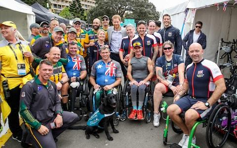 Prince Harry with Invictus Games competitors during day two of competition - Credit: Chris Jackson/Reuters