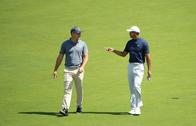"""<h1 class=""""title"""">U.S. Open - Preview Day 1</h1> <div class=""""caption""""> PEBBLE BEACH, CALIFORNIA - JUNE 10: (L-R) Bryson DeChambeau of the United States and Tiger Woods of the United States talk as they walk the sixth hole during a practice round prior to the 2019 U.S. Open at Pebble Beach Golf Links on June 10, 2019 in Pebble Beach, California. (Photo by Andrew Redington/Getty Images) </div> <cite class=""""credit"""">Andrew Redington</cite>"""
