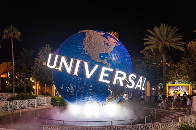 ORLANDO, FLORIDA, UNITED STATES - 2019/07/18: The 3d logo of Universal Studios is seen during the nighttime at the entrance of one of the themed parks in the area. The place is a famous tourist attraction in Florida. (Photo by Roberto Machado Noa/LightRocket via Getty Images)