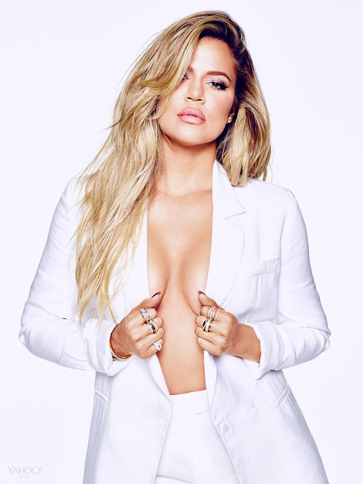 "<p>""I could have lost weight six years ago, I could have done all of that. I don't want to do something for somebody else,"" Khloé says. Instead, she started exercising as a stress reliever. Her toned physique and the fact that now she's having more fun with fashion (hello, bodysuits and denim) are great side effects, but not the end game. </p><p><i>Amanda Wakeley Blazer, Price Upon Request, <a href=""http://www.amandawakeley.com/shop/lifestyle/tux-times"">Amandawakeley.com</a><br />Amanda Wakeley Pants, Price Upon Request, <a href=""http://www.amandawakeley.com/shop/lifestyle/tux-times"">Amandawakeley.com</a><br />SHAY Baugette Orbit Ring in 18k Gold and Diamonds, $7,560, <a href=""http://www.shayfinejewelry.com/"">shayfinejewelry.com</a><br />SHAY Essential Orbit Ring in 18k Gold and Diamond Orbit Ring, $5,460, <a href=""http://www.shayfinejewelry.com/"">http://www.shayfinejewelry.com/</a><br />SHAY 5 Row Closed Mixed Diamond Ring, $7,140, <a href=""http://www.shayfinejewelry.com/"">http://www.shayfinejewelry.com/</a><br />SHAY Essential Pave Link Barcelet, $16,380, <a href=""http://www.shayfinejewelry.com/"">shayfinejewelry.com</a><br />SHAY Essential Link Pavé ID Bracelet in 18K Gold and Diamonds, $10,080, <a href=""http://www.shayfinejewelry.com/"">shayfinejewelry.com</a><br />SHAY Triple Moving Diamond Bracelet in 18K Gold and Diamonds, $6,300, <a href=""http://www.shayfinejewelry.com/""><i></i></a><i><a href=""http://www.shayfinejewelry.com/"">shayfinejewelry.com</a></i><br />SHAY Name Plate Bracelet with Diamond Trim set in 18k Gold, $5,880, <a href=""http://www.shayfinejewelry.com/""><i></i></a><i><a href=""http://www.shayfinejewelry.com/"">shayfinejewelry.com</a></i></i></p>"