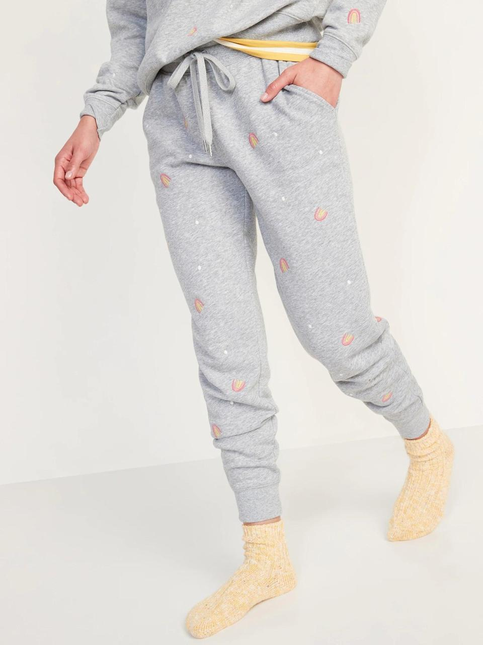 <p>Gray sweats are a classic but why not switch things up with these <span>Old Navy Vintage Mid-Rise Embroidered Jogger Sweatpants</span> ($35) with tiny rainbows instead?</p>