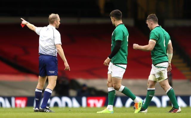 Peter O'Mahony, right, was shown an early red card in the loss to Walesv Ireland – Guinness Six Nations – Principality Stadium