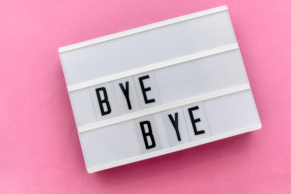 Pictured: Words 'bye bye' on pink background, suggesting a worker quitting a job. Image: Getty