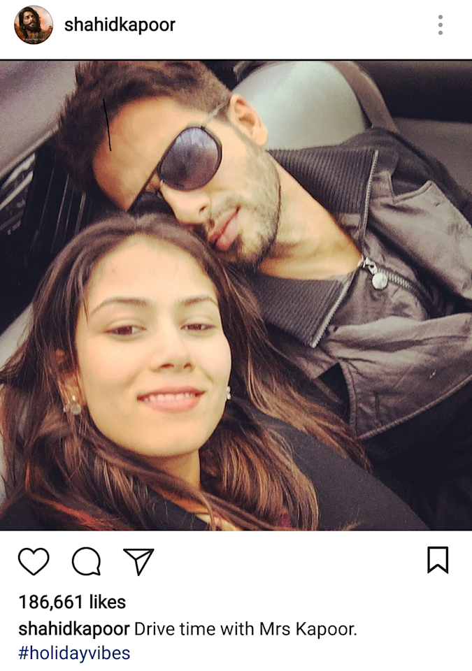 <p>Shahid seems to enjoy every moment with his betterhalf. Even an ordinary drive turns all rosey, I mean, literally – do you not see that pinkish hue on their faces? That is not a bathing soap, that's love. </p>
