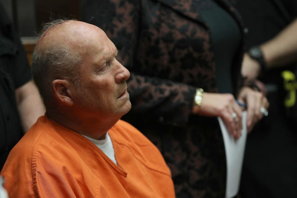 """SACRAMENTO, CA - APRIL 27:  Joseph James DeAngelo, the suspected """"Golden State Killer"""", appears in court for his arraignment on April 27, 2018 in Sacramento, California. DeAngelo, a 72-year-old former police officer, is believed to be the East Area Rapist who killed at least 12 people, raped over 45 women and burglarized hundreds of homes throughout California in the 1970s and 1980s.  (Photo by Justin Sullivan/Getty Images)"""
